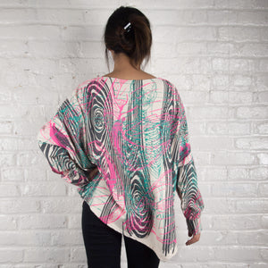 Long Sleeve Asymmetrical Top // Lime Green Neon Fractal