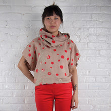 Load image into Gallery viewer, Cowl Neck Top // Linen Blend with bellflowers, morse code, and fawn marking