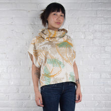 Load image into Gallery viewer, Cowl Neck Top // Linen Blend with bellflowers, goliath beetles, and polka dots Print