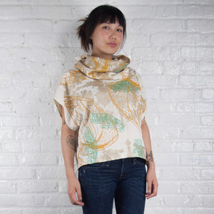 Cowl Neck Top // Linen Blend with bellflowers, goliath beetles, and polka dots Print