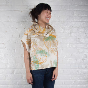 Cowl Neck Top // Linen Blend with bellflowers, morse code, and fawn marking