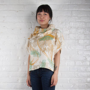 Cowl Neck Top // Linen Bundle Dyed with Skeleton Print