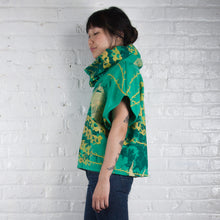 Load image into Gallery viewer, Hemp Fleece Cowl // Pineapple and Pink Polka Dots Blockprint