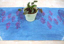 Load image into Gallery viewer, Table Runner // Indigo printed Chickens + Almond Shells