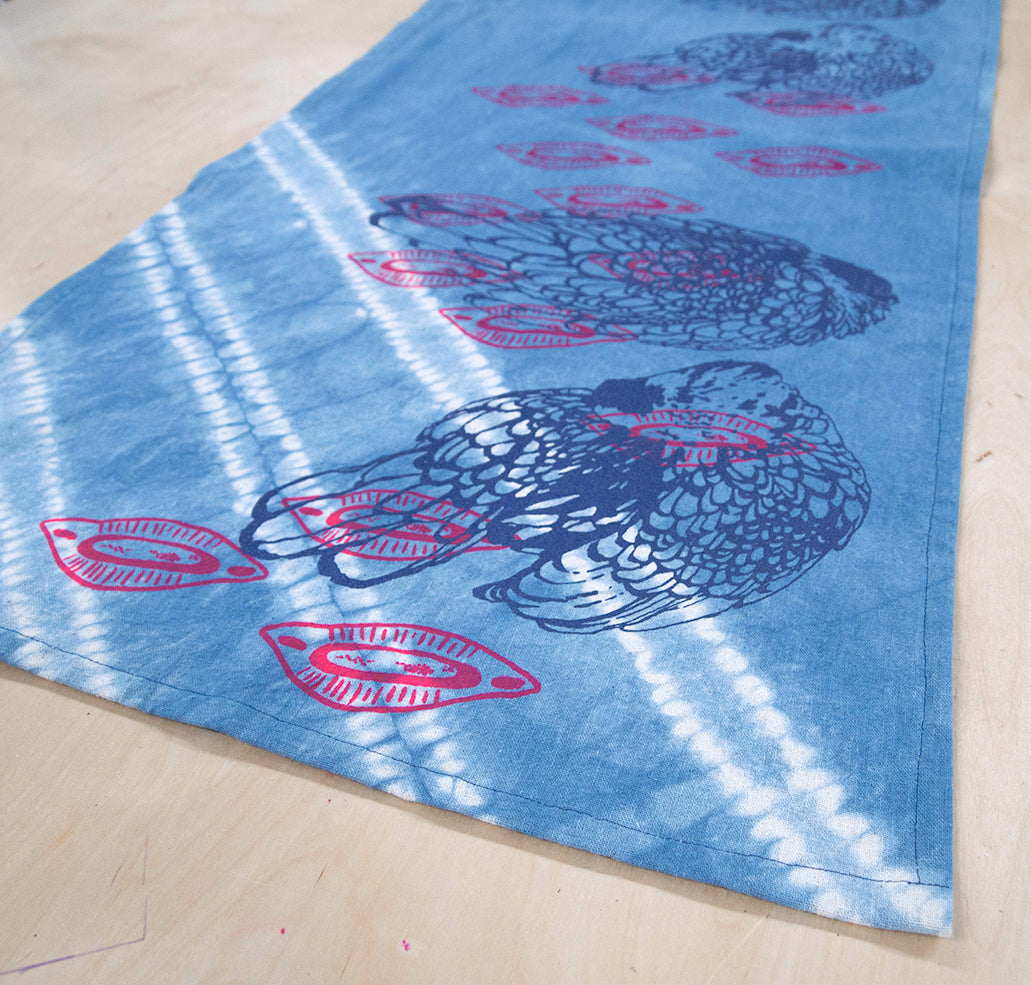 Table Runner // Indigo printed Chickens + Almond Shells