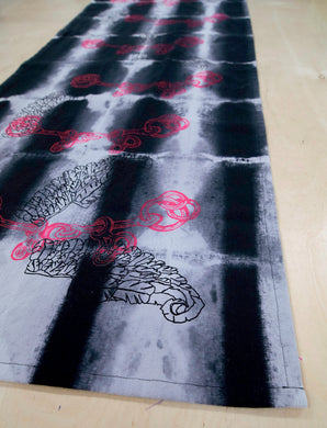 Table Runner // AntiDyed printed Roman Feathers + Bits