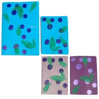 Printed Eco-friendly Sketchbook printed Indigo Leaves on Polka Dots