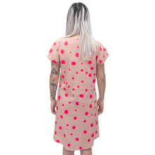 Load image into Gallery viewer, Rose Linen Shift Dress with bellflowers, morse code, and fawn marking