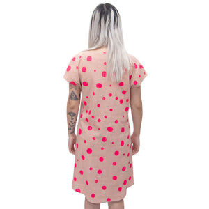 Rose Linen Shift Dress with bellflowers, morse code, and fawn marking