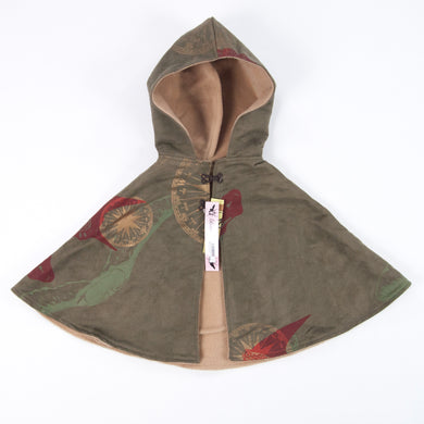 Kids Hooded Cape // Olive Green