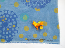 Load image into Gallery viewer, Hand Screenprinted Indigo Dyed Cotton/Linen  by Yard // Blue, Periwinkle, Teal, Yellow