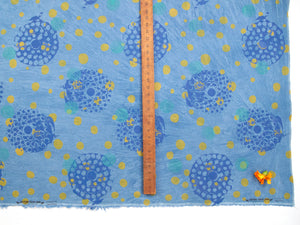 Hand Screenprinted Indigo Dyed Cotton/Linen  by Yard // Blue, Periwinkle, Teal, Yellow