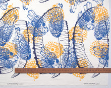 Load image into Gallery viewer, Hand Screenprinted Cotton/Linen  by Yard // Yellow Fireworks, Navy Blue Ibex Horn, Medium Blue Chickens