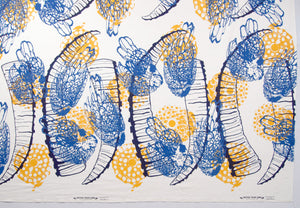Hand Screenprinted Cotton/Linen  by Yard // Yellow Fireworks, Navy Blue Ibex Horn, Medium Blue Chickens