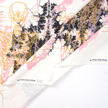 Load image into Gallery viewer, Hand Screenprinted Cotton/Linen  by Yard // Metal Black, Peach Pink, Mustard Yellow