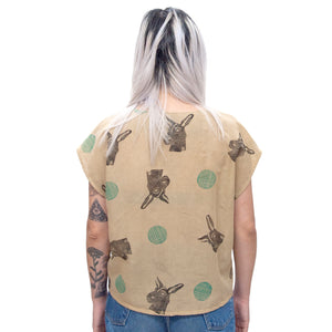 Cotton Sheer Top // Mustard Donkey Print