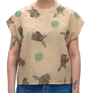 Cotton Sheer Top // Rosemary Green Ibex Horn Print