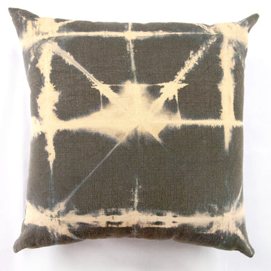 Heavy Olive Linen AntiDyed Shibori Throw Pillows