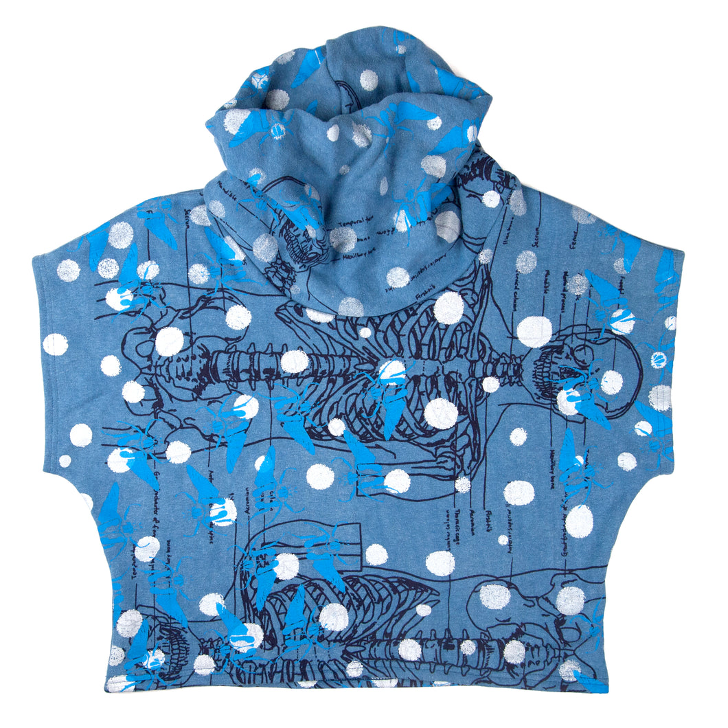 Hemp Fleece Cowl // blue with skeletons, beetles, and polka dots