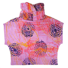Load image into Gallery viewer, Hemp Fleece Cowl // purple with skeletons, fireworks, and coconuts