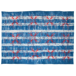 Padded Throw // Indigo Dyed Osnaburg Printed with Crayfish and Almond Shells
