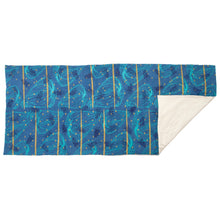 Load image into Gallery viewer, Padded Throw // Indigo Dyed Linen Printed with Goats, Fawn Makings, Coconuts