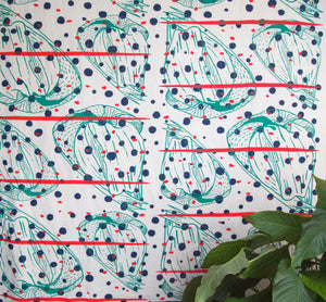 Hand Screenprinted Cotton/Linen  by Yard // Navy,Turquoise, Fluorescent Red