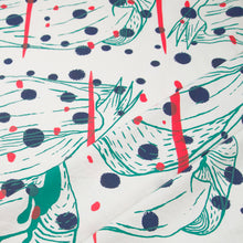 Load image into Gallery viewer, Hand Screenprinted Cotton/Linen  by Yard // Navy,Turquoise, Fluorescent Red