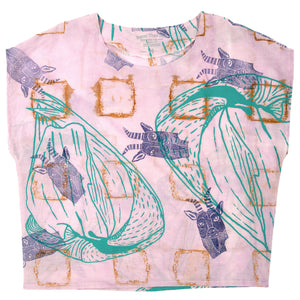 Cotton Sheer Top // Pink Rust Dyed Goat Print