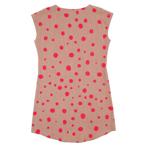 Silk Blend Shift Dress  // Avocado Pink with Polka Dots