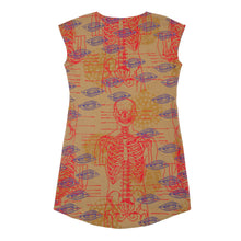 Load image into Gallery viewer, Silk Blend Shift Dress // Marigold Yellow with Skelton Print