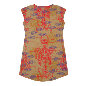 Silk Blend Shift Dress // Marigold Yellow with Skelton Print