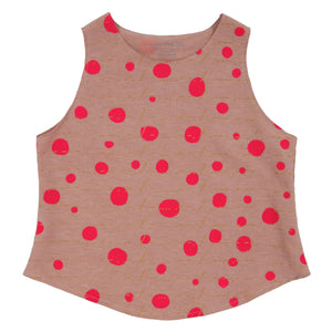 Silk Hemp Cotton Tank Top // Avocado Pink Dyed with Polka Dot Print