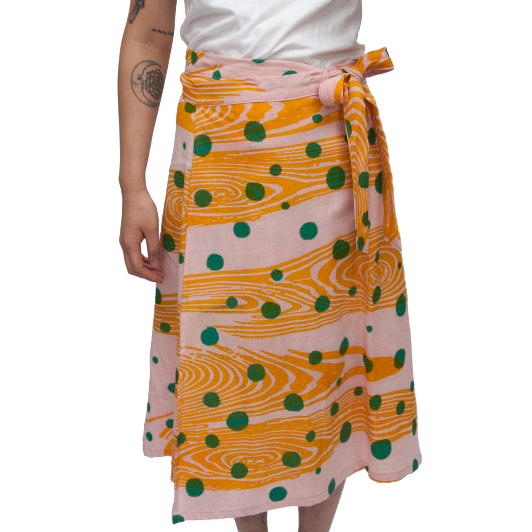 Linen Madder Root Dyed Wrap Skirt with Woodgrain and Polka Dot Print