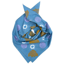 Load image into Gallery viewer, Indigo Dyed + Blockprinted Linen Bandana