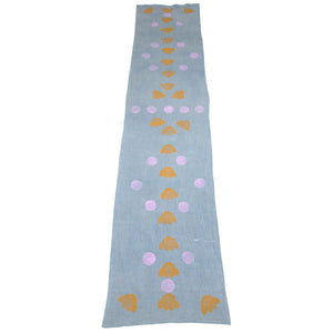 Indigo Dyed Linen Blockprinted Table Runner