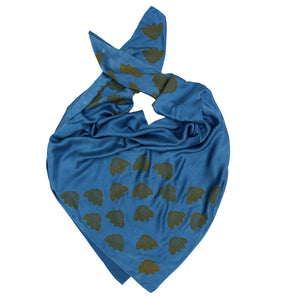 Indigo Dyed Silk Scarves with Coneflower Block Print