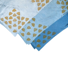 Load image into Gallery viewer, Indigo Dyed Silk Scarves with Coneflower Block Print