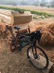 bicycle powered bean thresher in Boonville, CA