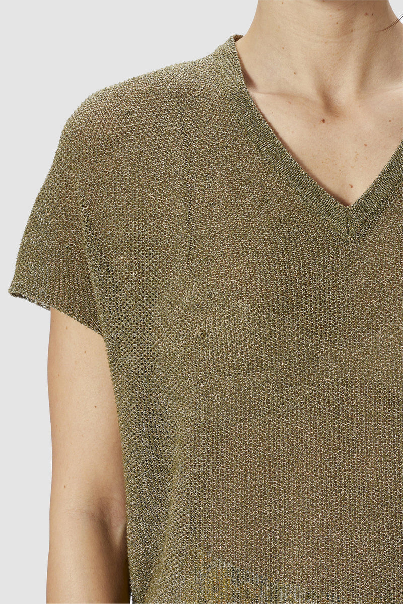 Lurex-Top mit Binde-Detail