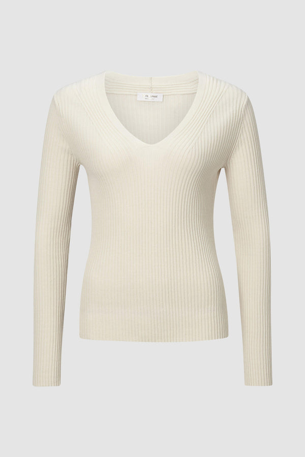 Rich & Royal - V-Neck Rippstrick-Pulli - Büste