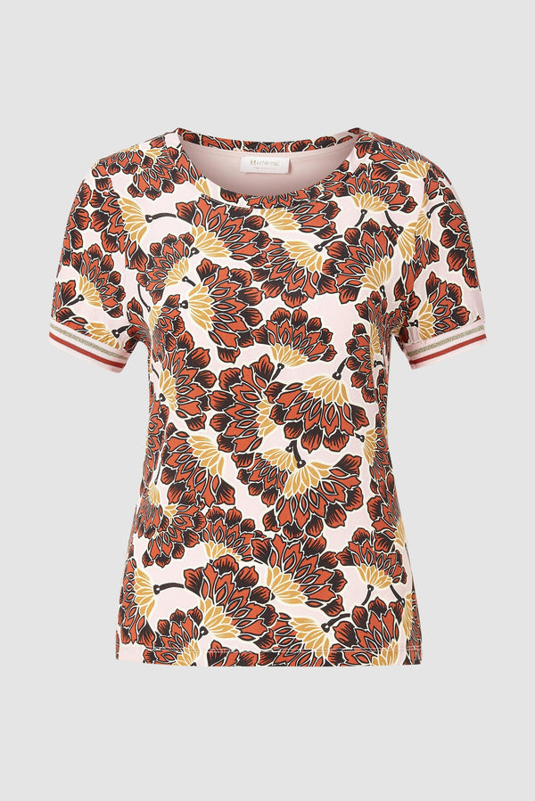 Rich & Royal - Print T-Shirt im Material-Mix - Büste