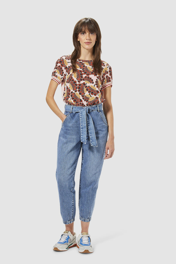 Rich & Royal - Print T-Shirt im Material-Mix - Modelbild vorne