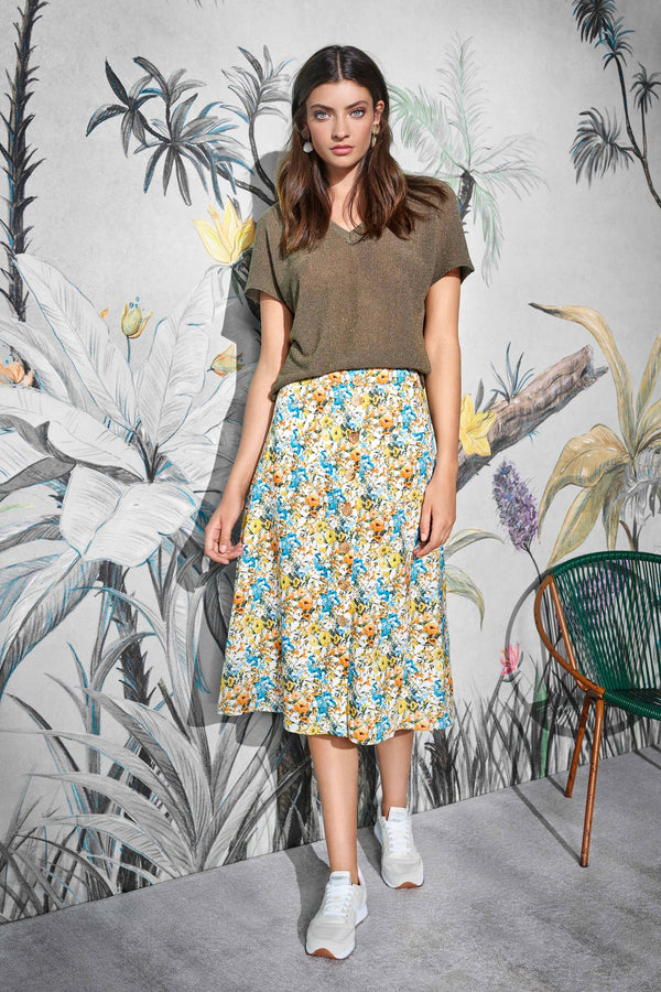 Midi-Rock mit Flower-Print