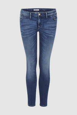 Rich & Royal - Dunkle Midi-Jeans mit Used-Waschung - Büste