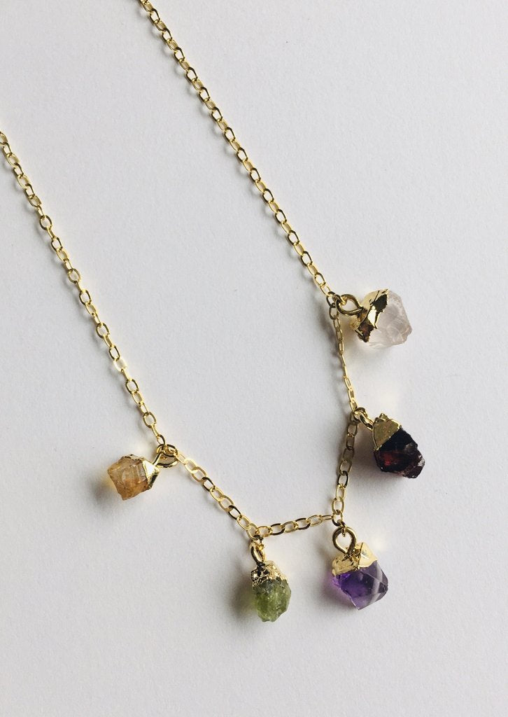 Mini Raw Gemstones - Five Stone Necklace