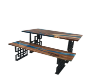 Load image into Gallery viewer, Table & Bench Set in Solid Walnut