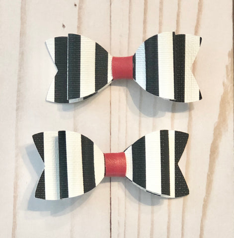 Black & White Stripe Piggy Tail I faux leather Ainsley Bow | girl hairbow | baby headband | hairbow | hair clip | leather bow