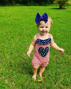 Fourth of July Blue Glitter Hair Bow - Clip or Nylon