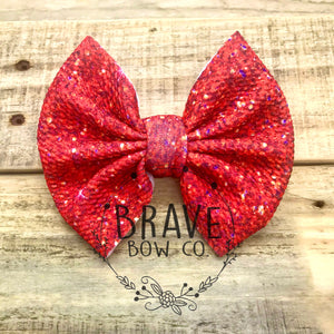 Christmas Red Glitter Hair Bow - Clip or Nylon